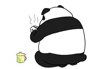 肉まんを食べるパンダ