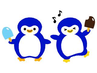 アイスを食べるペンギン
